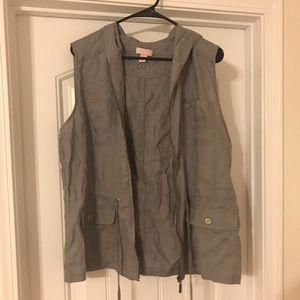 Grey Hooded Linen Vest